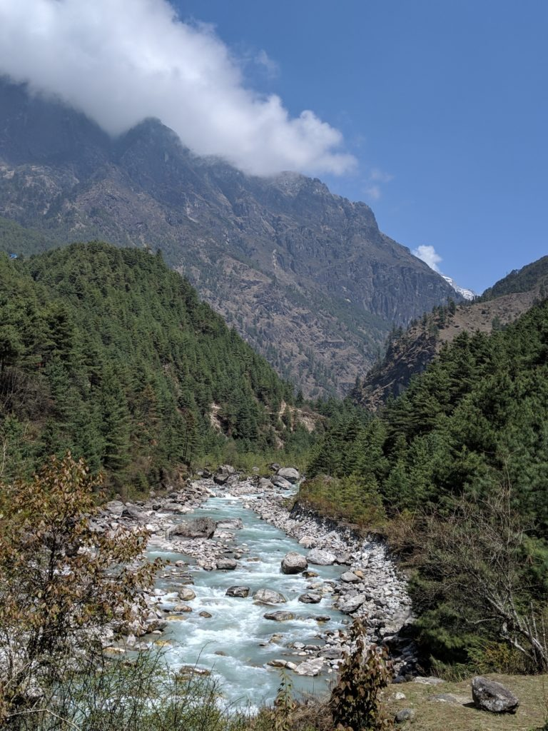 The trail follows and crosses several glacial rivers