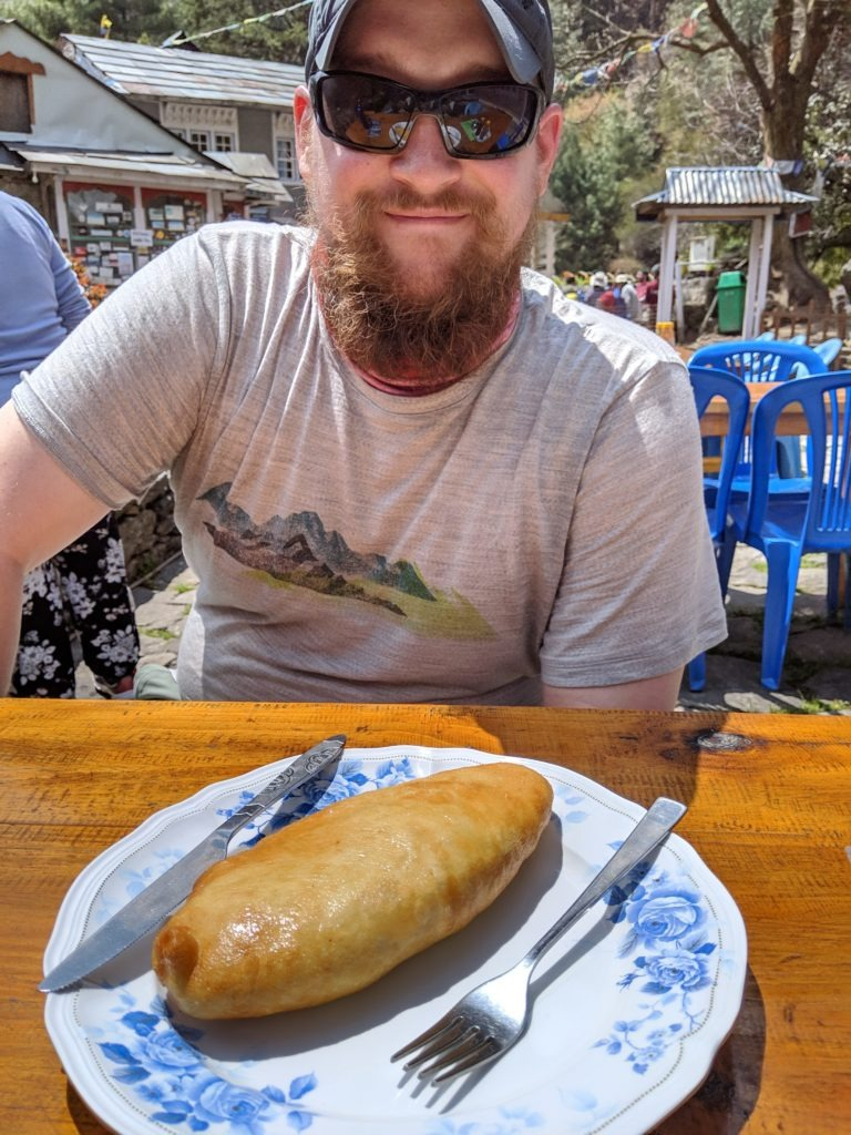 "Steve with his ""spring roll."""