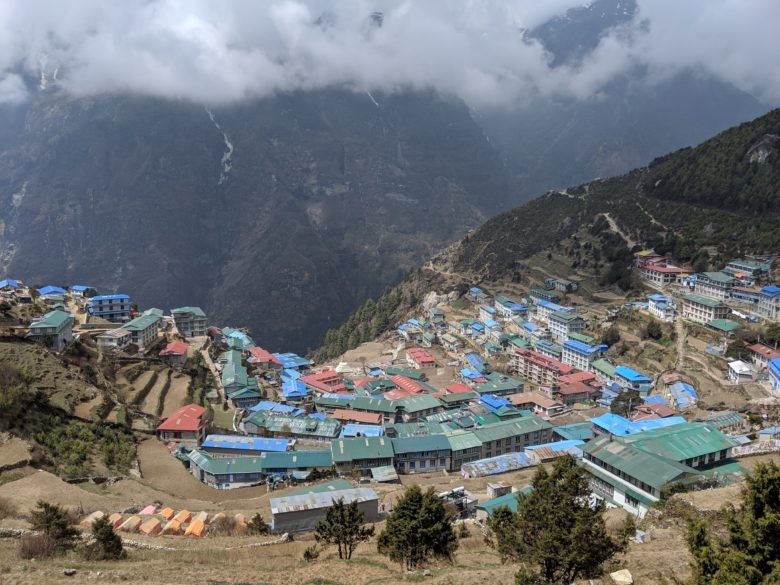 The village of Namche Bazaar - the largest Sherpa village along the trail
