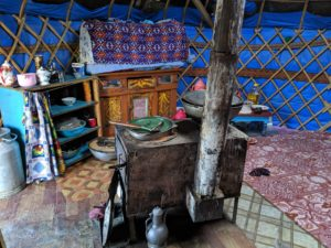 Interior of a yurt